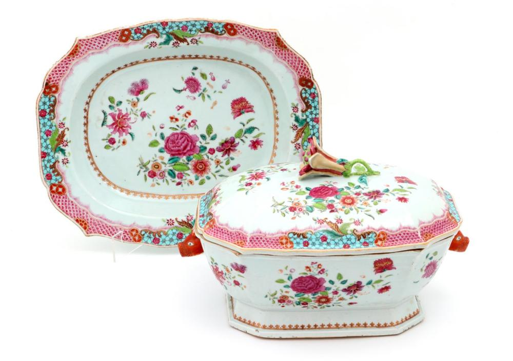 A TUREEN WITH PLATTER