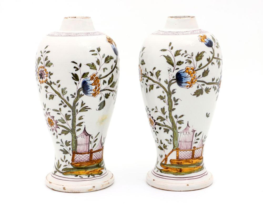 A PAIR OF PORTUGUESE FAIENCE VASES