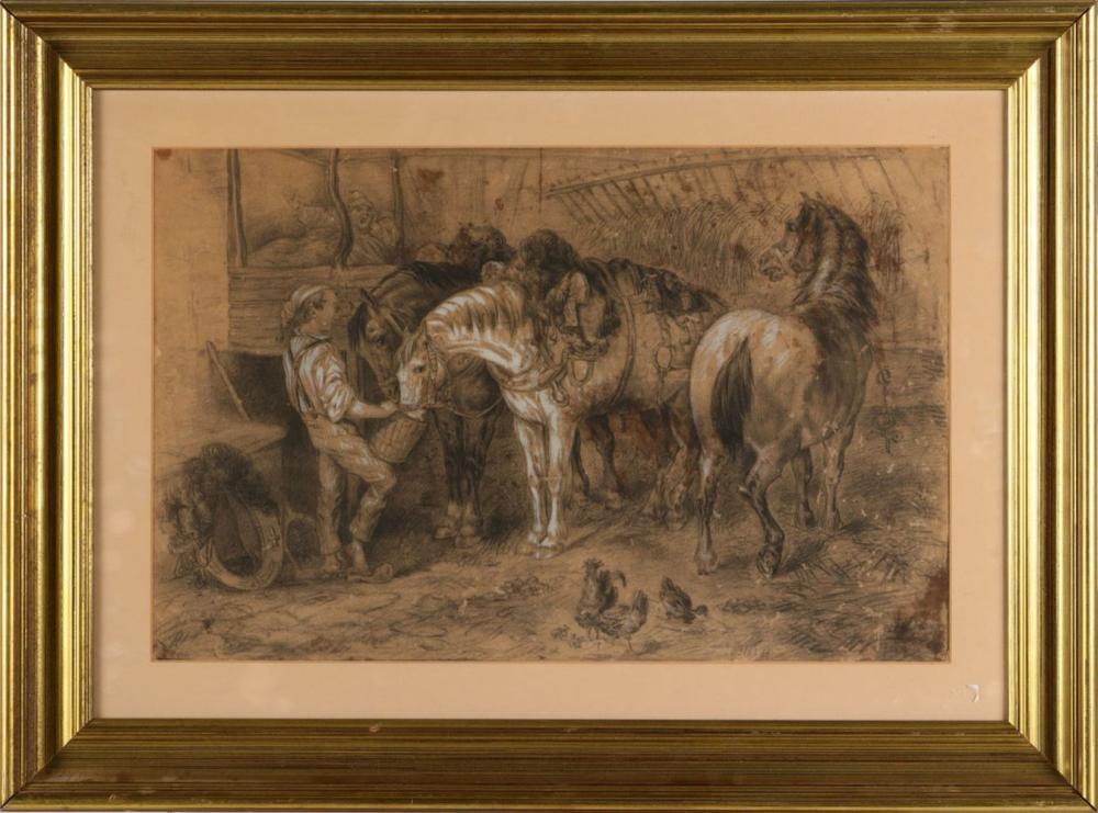 PORTUGUESE SCHOOL (19TH CENTURY), INTERIOR WITH HORSES