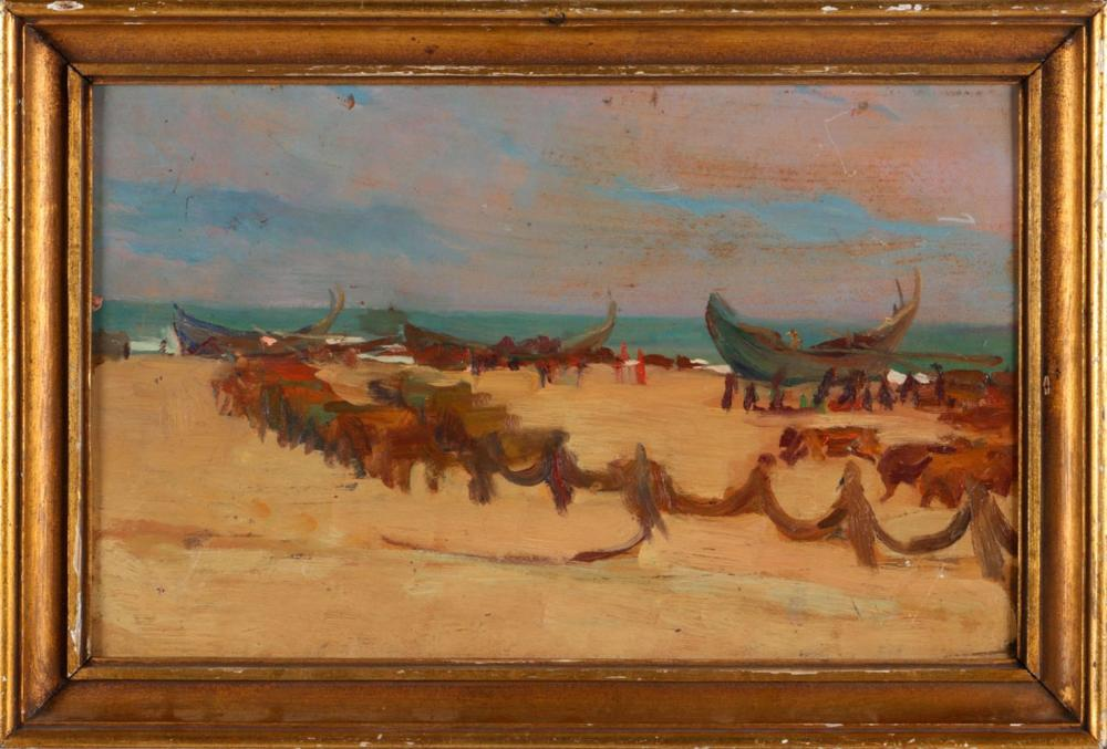 ATTRIBUTED TO  ADRIANO DE SOUSA LOPES (1879-1944), BEACH WITH BOATS