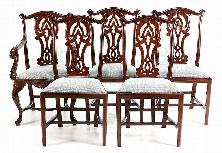 eight chairs and pair of fauteuils chippendale style. Black Bedroom Furniture Sets. Home Design Ideas