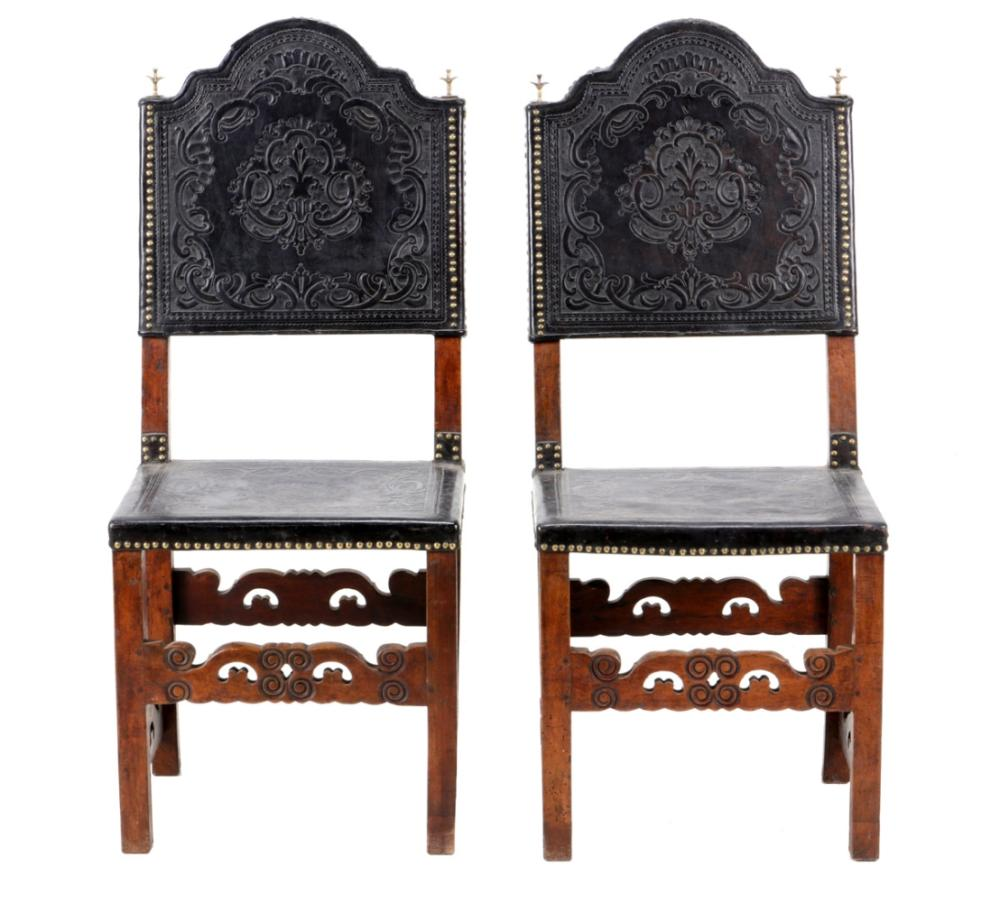 A PAIR OF LEATHER CHAIRS
