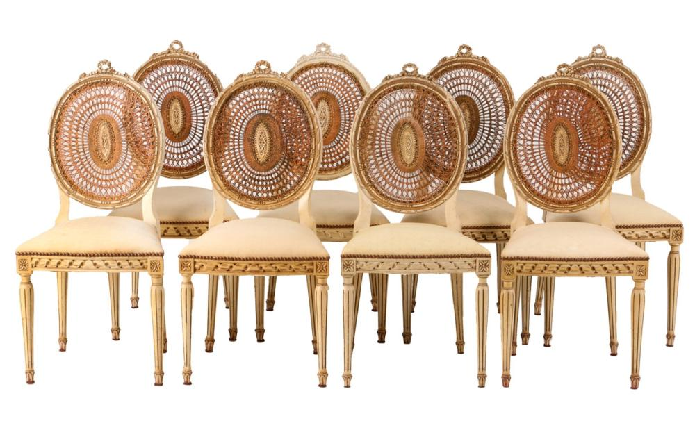 A SET OF EIGHT LOUIS XVI STYLE CHAIRS