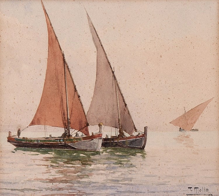 D. THOMAZ DE MELLO JR (1866-1933), SEA VIEW WITH BOATS