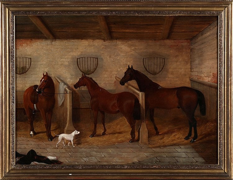 WILLIAM STANDISH, HORSES AND A DOG