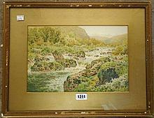 Arthur Suker: a watercolour depicting a view on the River Dart - signed and