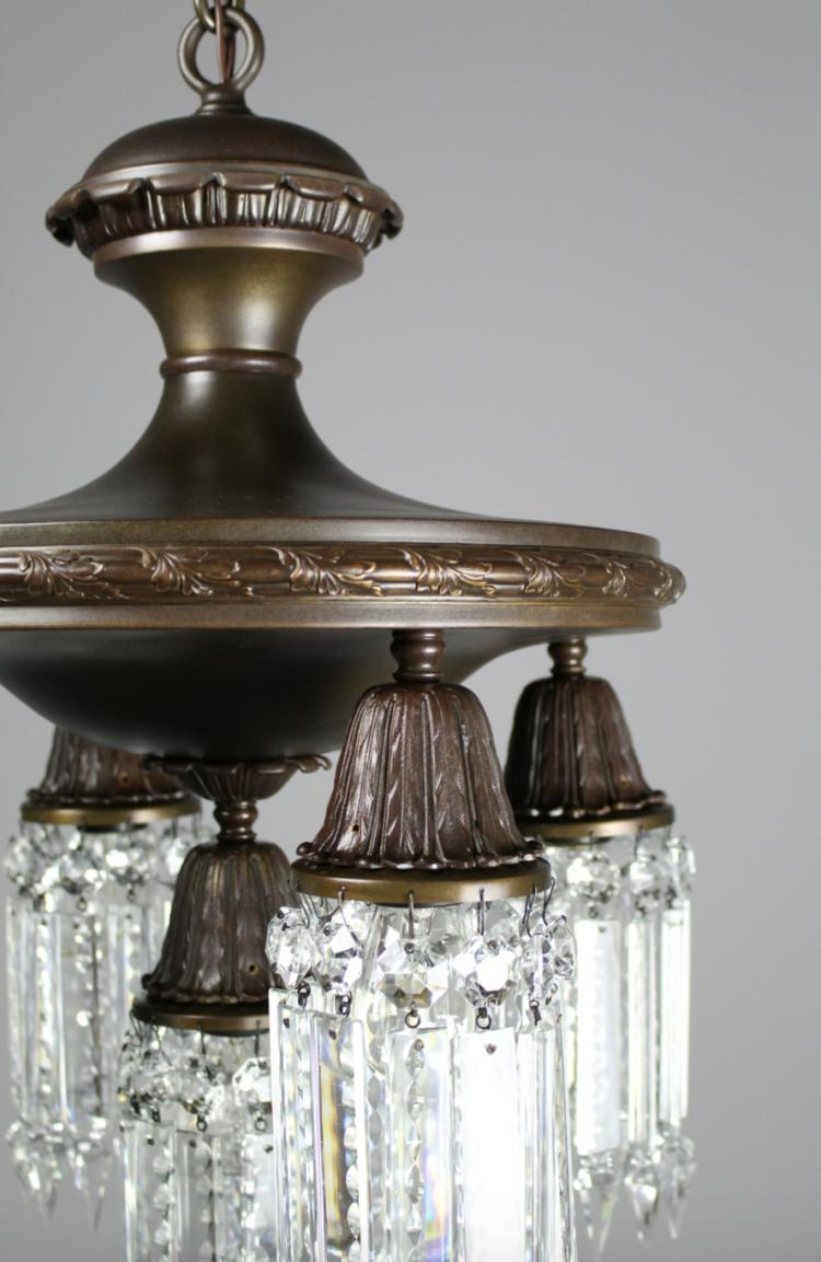 5 light colonial revival crystal chandelier