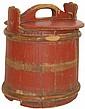 Primitive wood bucket w/lid, missing center band &