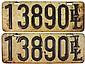 License plates (2), pr 1909 Illinois 5-digit,