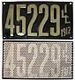 License plates (pr), Illinois 1912, VG+ cond