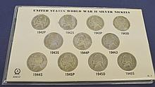 11pc US World War II Silver War Nickel Set