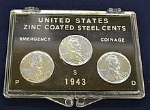 3pc Set 1943 US Zinc Coated Steel Cents