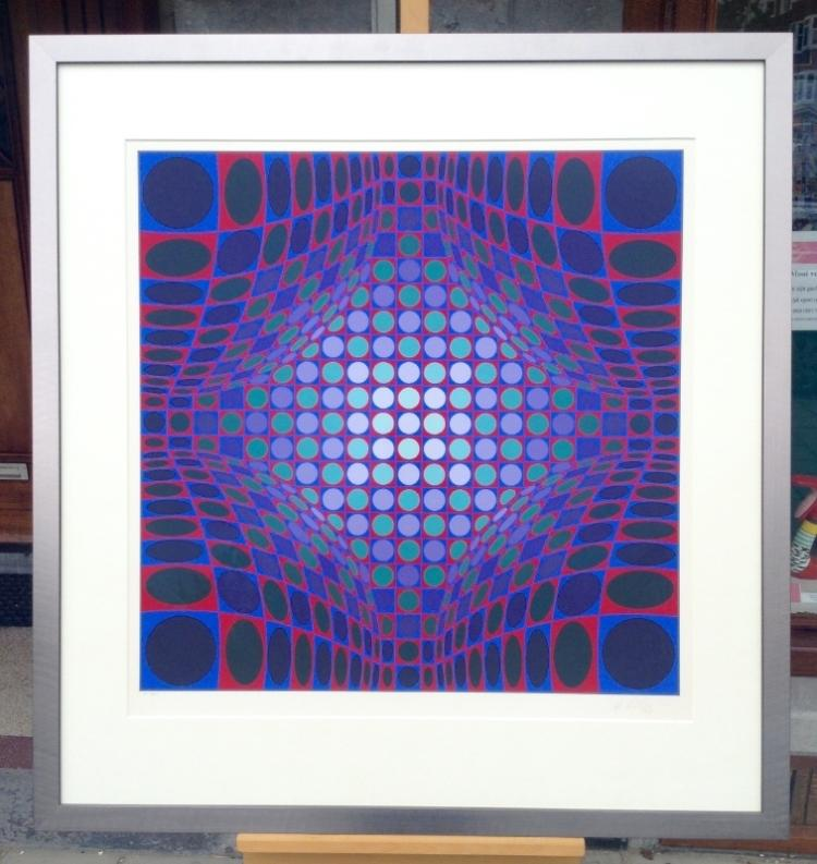 Victor Vasarely. Framed work. Stri Ond