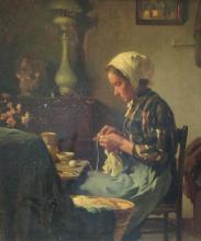 Otto Kriens (1873-1930) - Breiende jonge vrouw in interieur