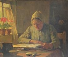 Otto Kriens (1873-1930) - lezende oude vrouw
