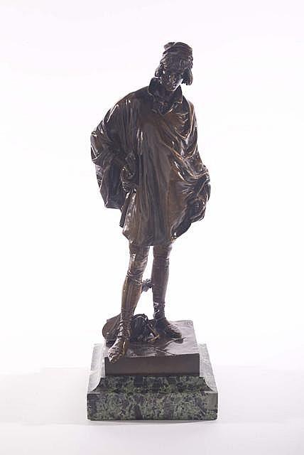 JEAN FRANÇOIS MARIE ETCHETO (SPANISH, 1853-1889), BRONZE FIGURE OF MINSTREL