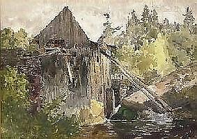 aaron allan edson rca, osa THE OLD MILL. Watercolour over pencil, signed. Sight 23.8 x 33.5 cm. (9.375 x 13.25in.). Provenance: The Estate of Elizabeth Collard, Ottawa. Illustrated