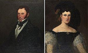 Canadian Art HENRY DANIEL THIELCKE (1788/89-1874) PORTRAIT PAIR: SAMUEL WENTWORTH MONK (1792-1865); and MRS. SAMUEL WENTWORTH MONK (n'e ANNE AMELIA GUGY) each titled on plaques recto; the latter inscribed on the reverse on the canvas. Note on the