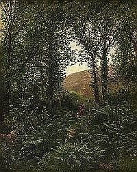 """Canadian Art AARON ALLAN EDSON (1846-1888) FOREST AND HILLSIDE WITH FIGURES, EARLY MONTREAL inscribed """"The House stood on the site... Sherbrooke West"""" on the stretcher on the reverse oil on canvas 50.8 by 40.6 cm. 20 by 16 in. PROVENANCE: Scott"""