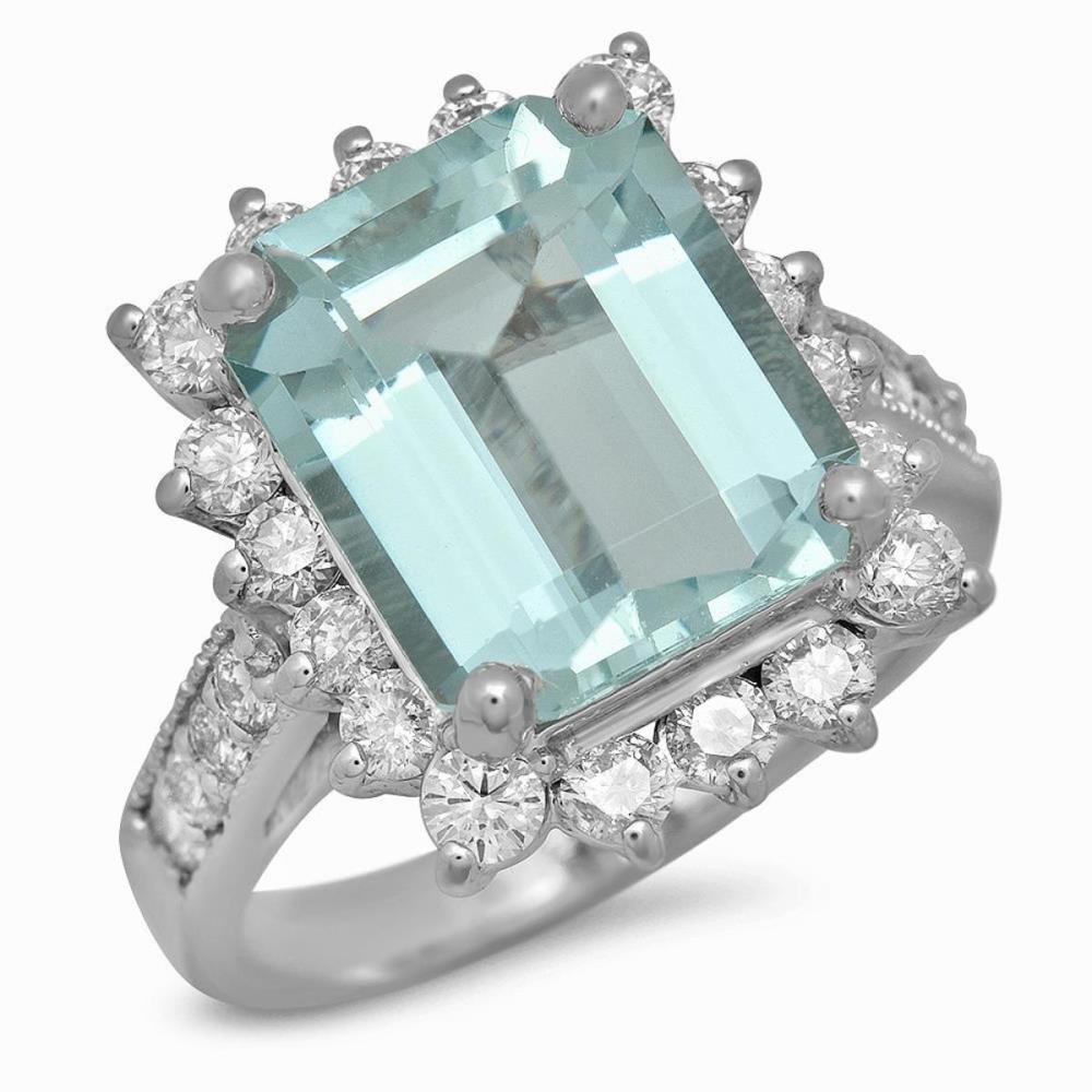 14K White Gold 5.42ct Aquamarine and 1.16ct Diamond Ring