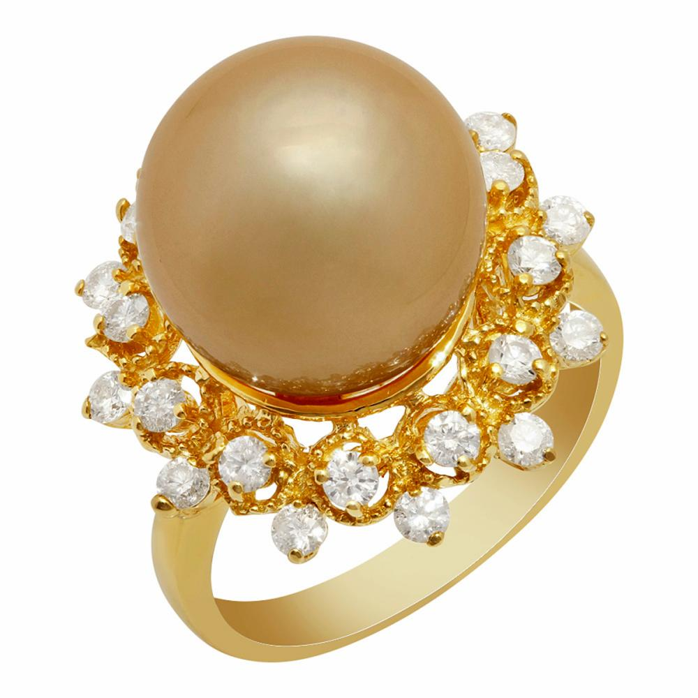 14k Yellow Gold 12mm Pearl 0.78ct Diamond Ring
