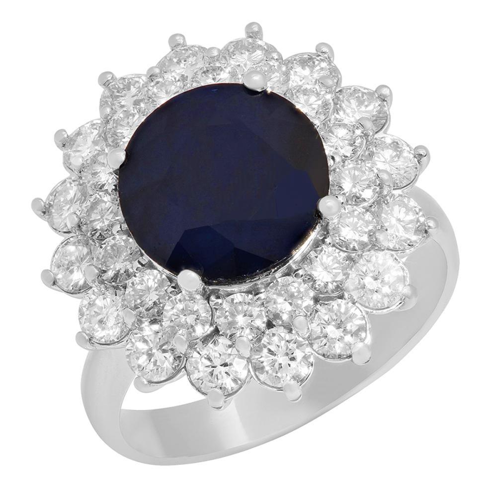14k White Gold 3.51ct Sapphire 1.87ct Diamond Ring
