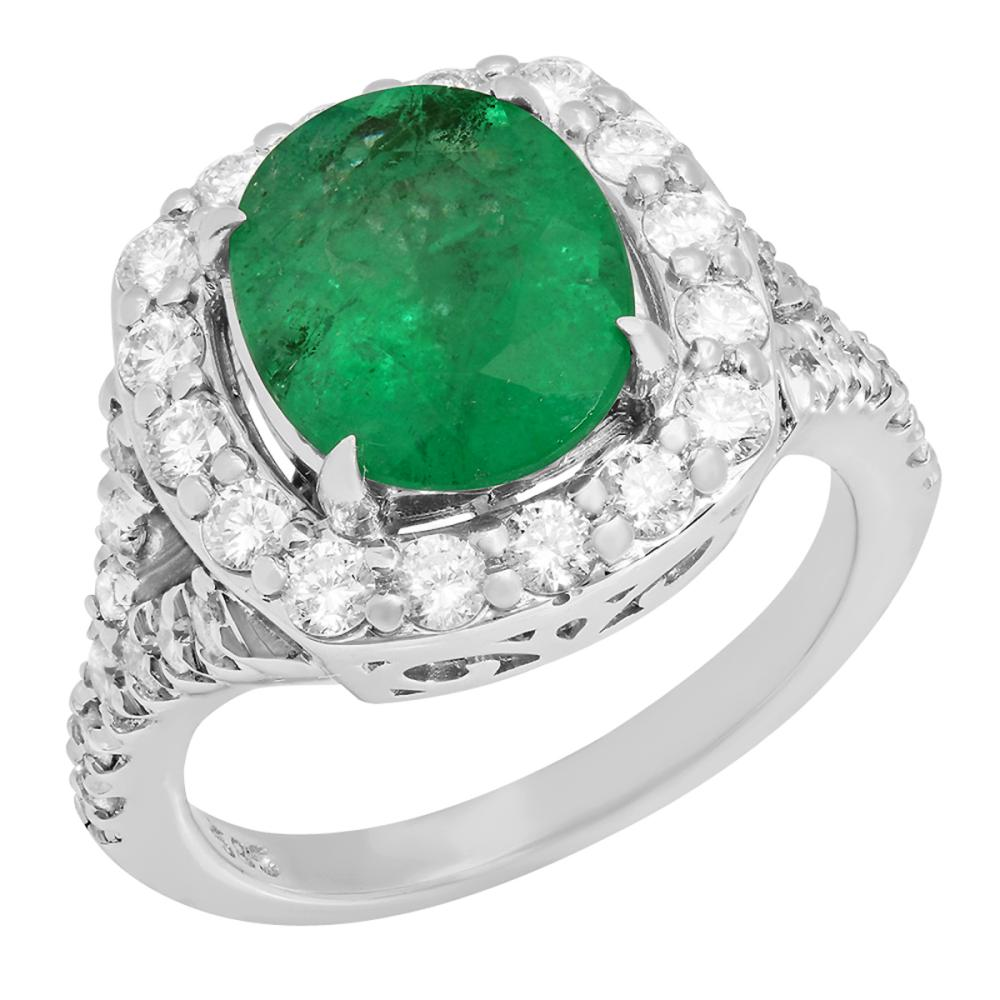14k White Gold 3.02ct Emerald 1.03ct Diamond Ring