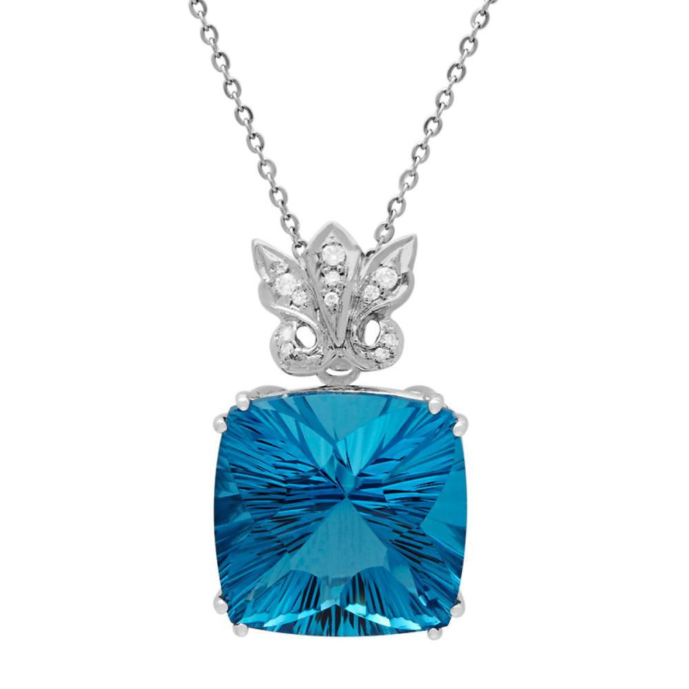 14k White Gold 49.15ct Blue Topaz 0.19ct Diamond Pendant