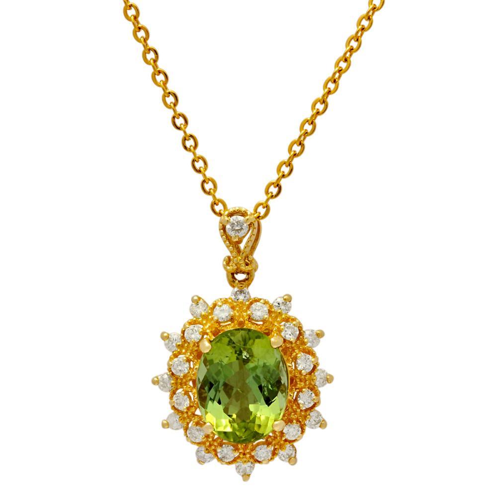 14k Yellow Gold 4.12ct Green Tourmaline 0.61ct Diamond Pendant