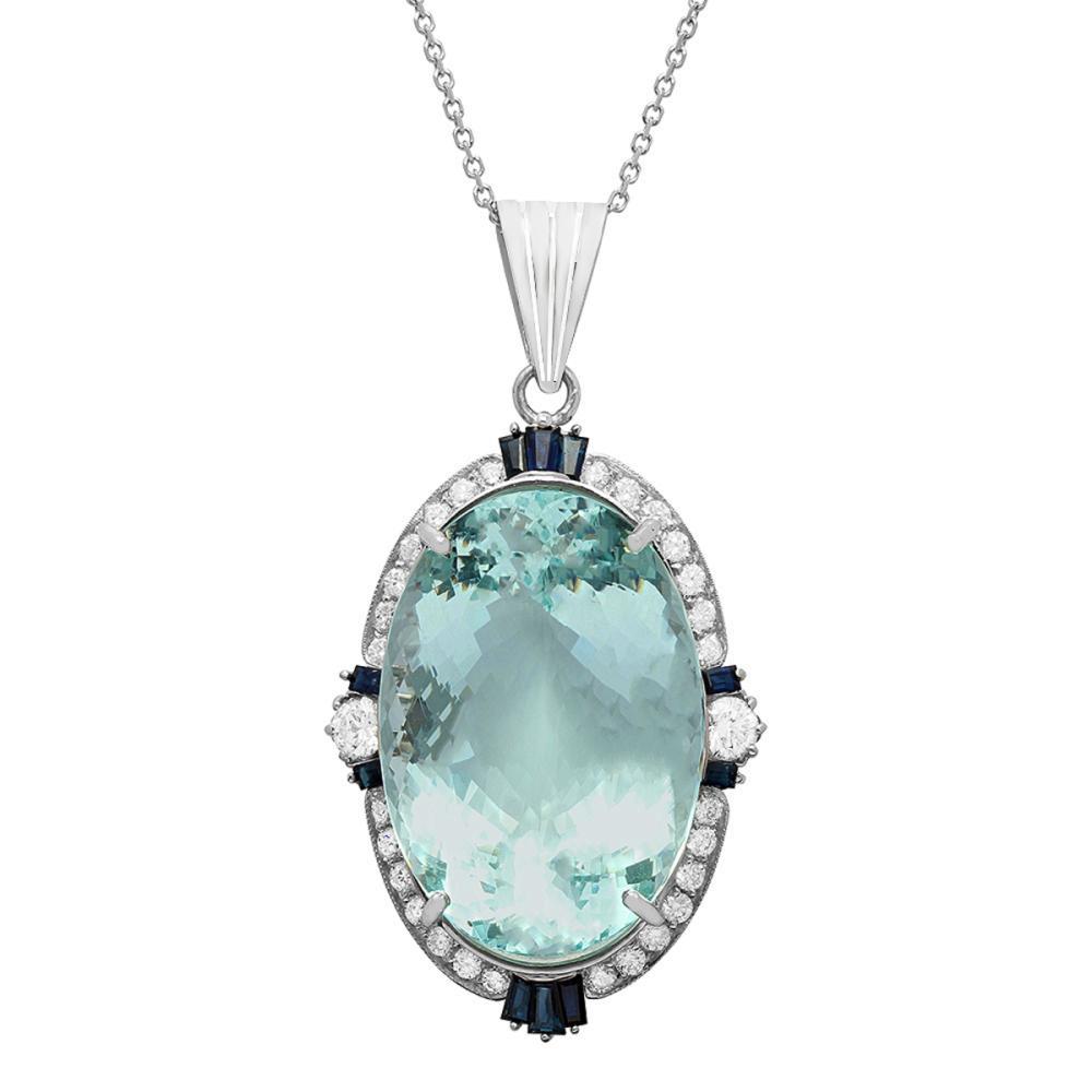 14k White Gold 45.10ct Aquamarine 0.70ct Blue Sapphire 2.40ct Diamond Pendant