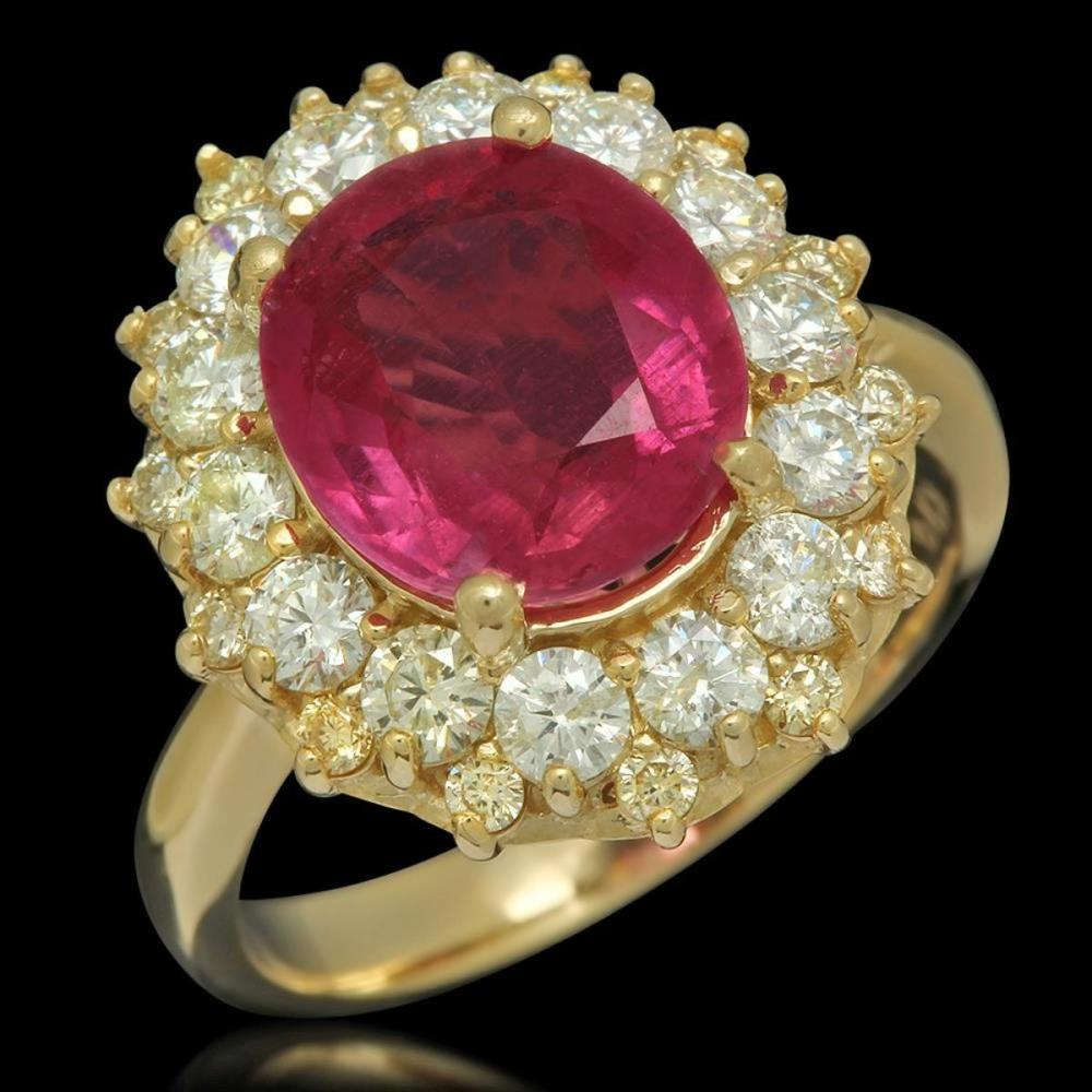 14K Yellow Gold 4.00ct Ruby and 1.51ct Diamond Ring