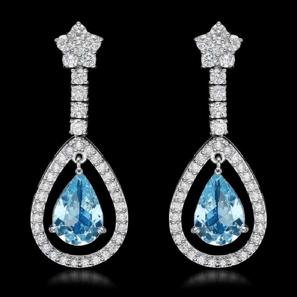 14K White Gold 4.32ct Aquamarine and 2.68ct Diamond Earrings