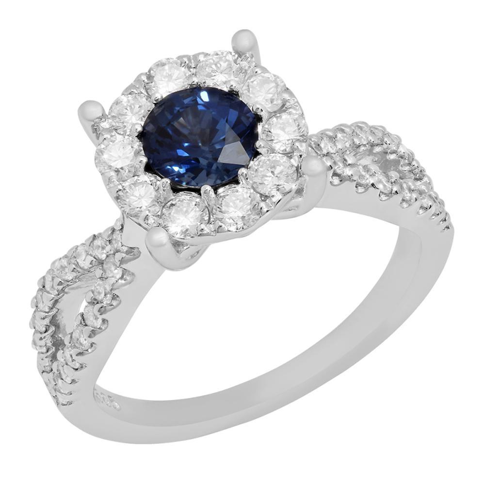 14k White Gold 1.00ct Sapphire 0.78ct Diamond Ring