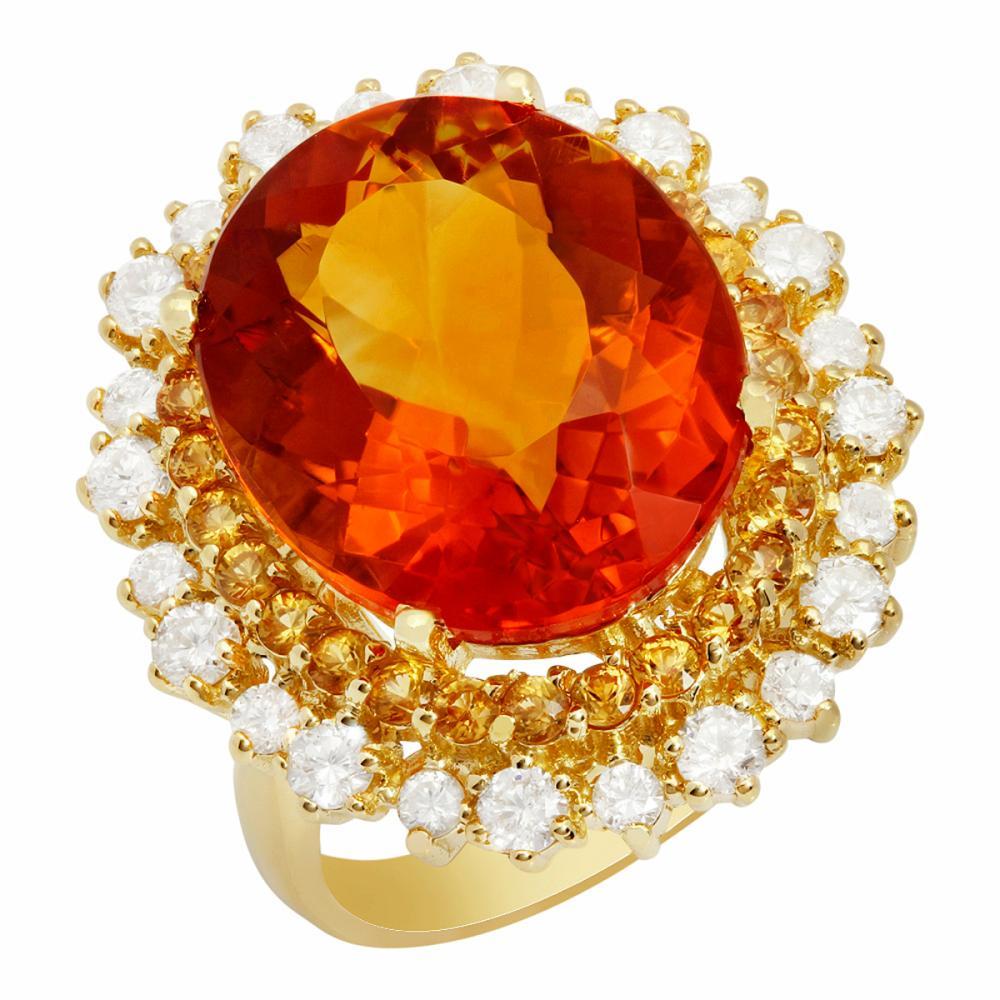 14k Yellow Gold 10.07ct Citrine 0.64ct Yellow Sapphire 0.96ct Diamond Ring