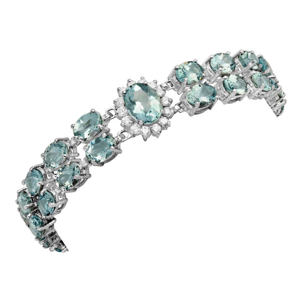 14k White Gold 24.19ct Aquamarine 1.61ct Diamond Bracelet
