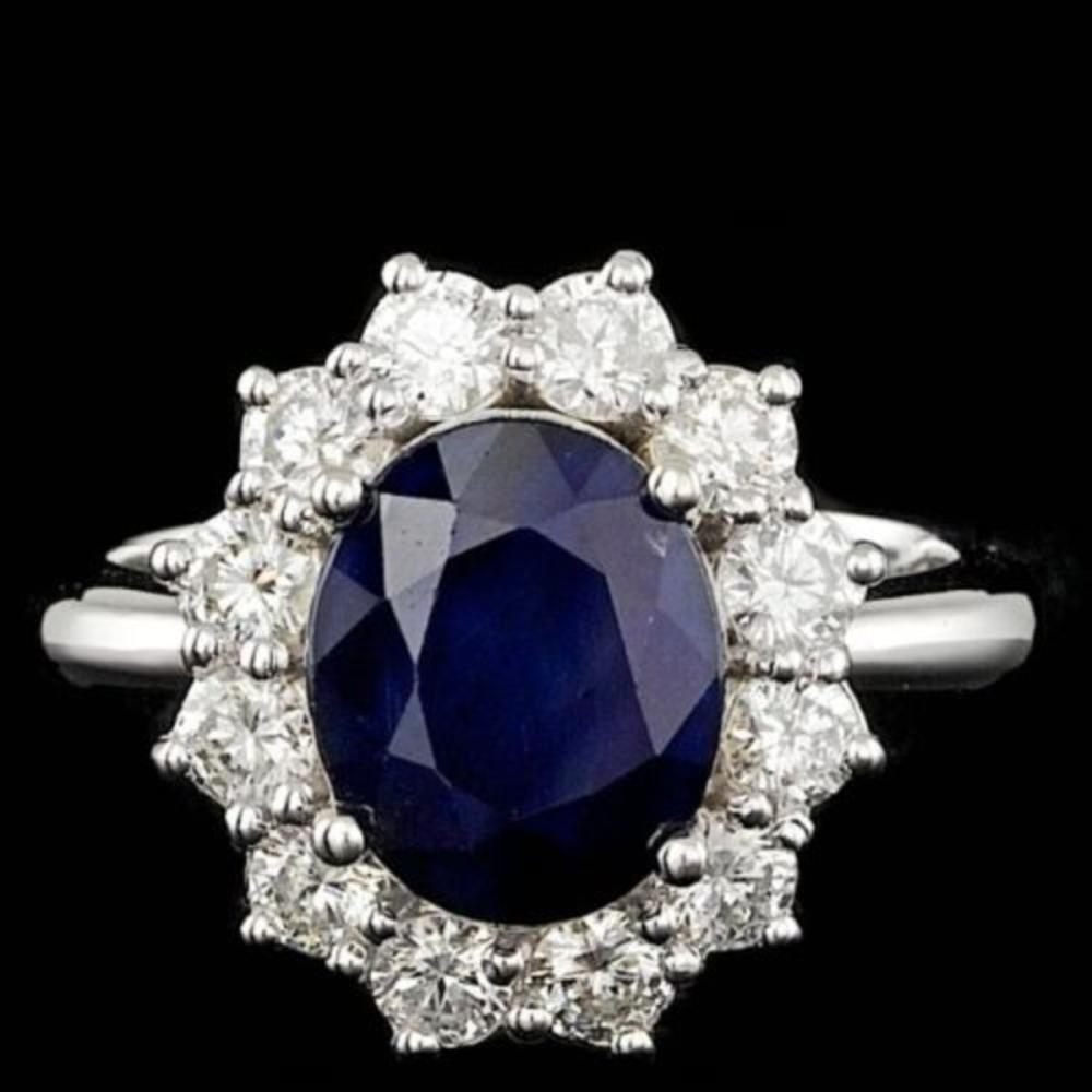 14K White Gold 3.79ct Sapphire and 1.13ct Diamond Ring