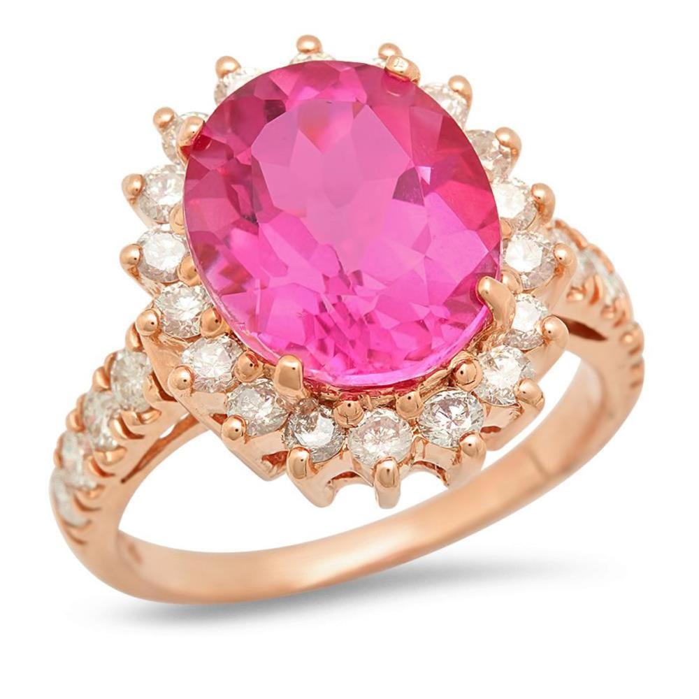 14K Rose Gold 5.86ct Topaz and 1.07ct Diamond Ring