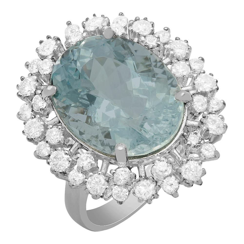 14k White Gold 10.35ct Aquamarine 1.28ct Diamond Ring