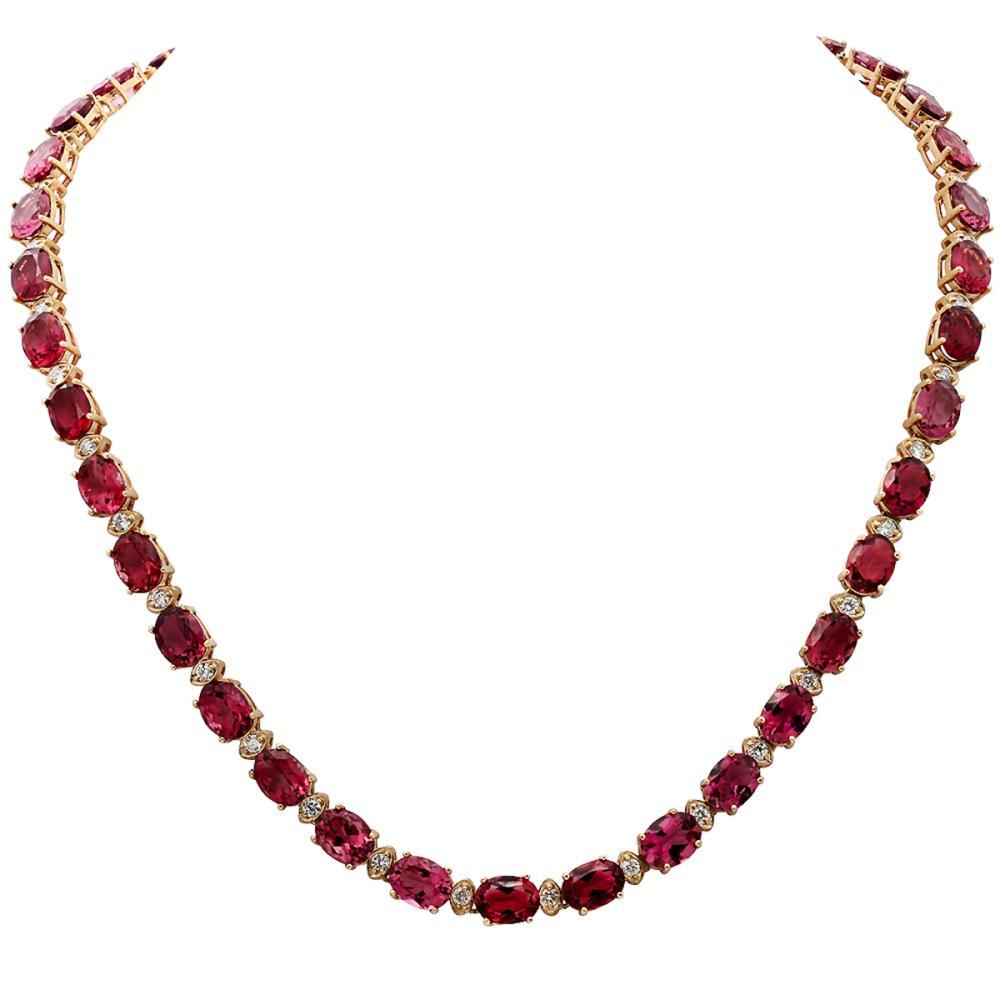 14k Yellow Gold 44.91ct Pink Tourmaline 1.95ct Diamond Necklace