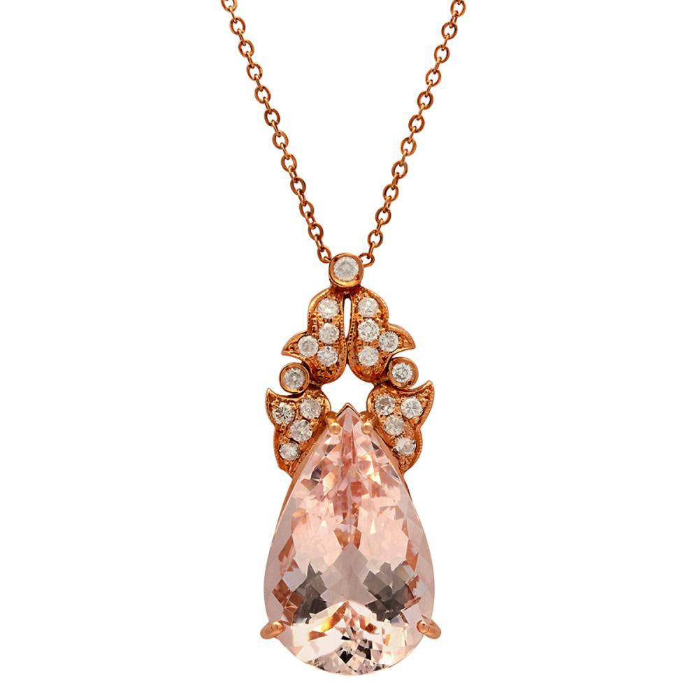 14k Rose Gold 22.12ct Morganite 0.82ct Diamond Pendant