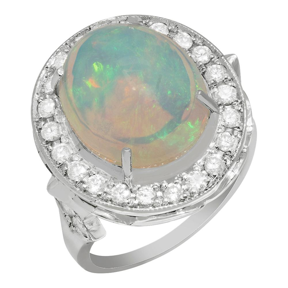 14k White Gold 5.57ct Opal 1.01ct Diamond Ring