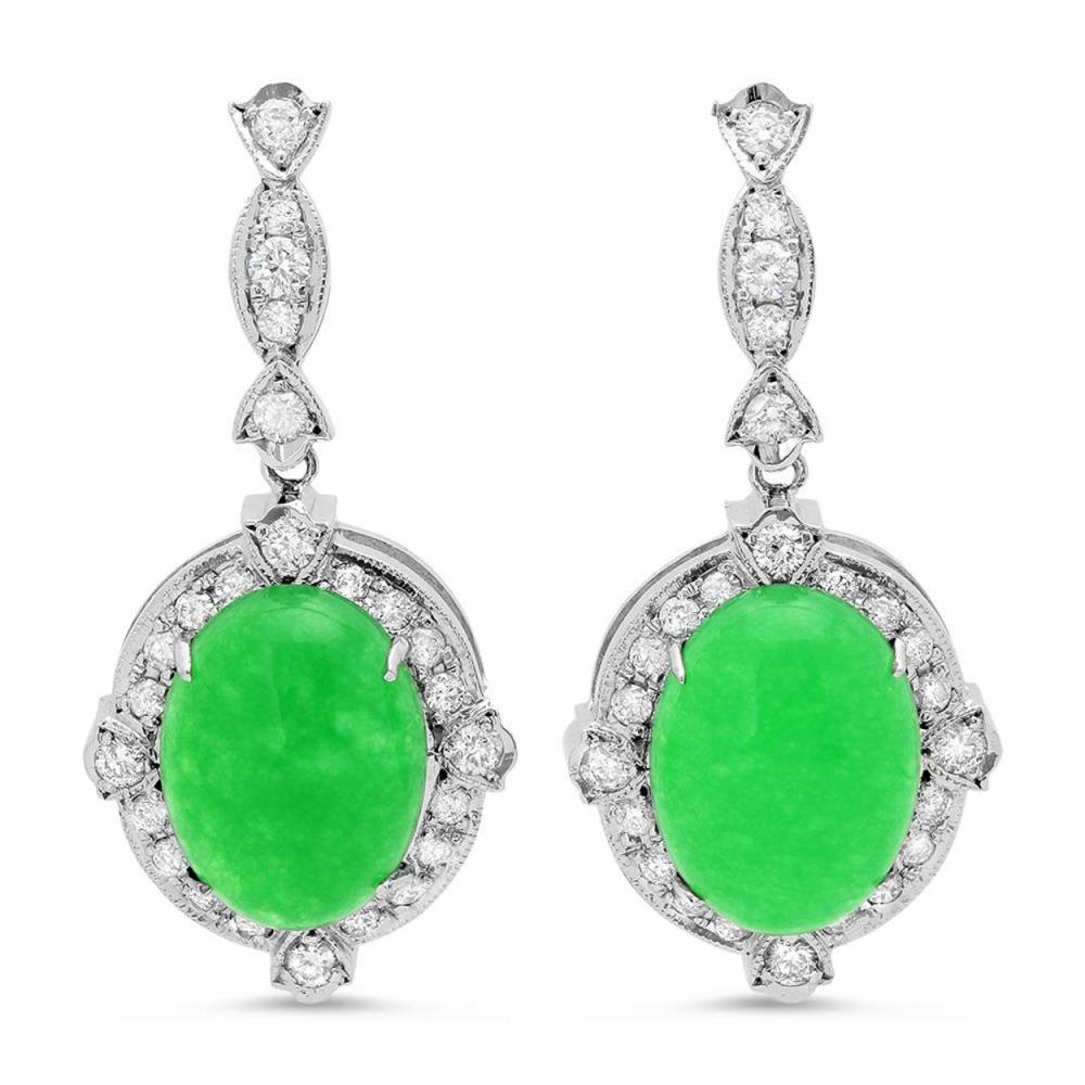 14K Gold 17.99ct Jadeite 1.97cts Diamond Earrings
