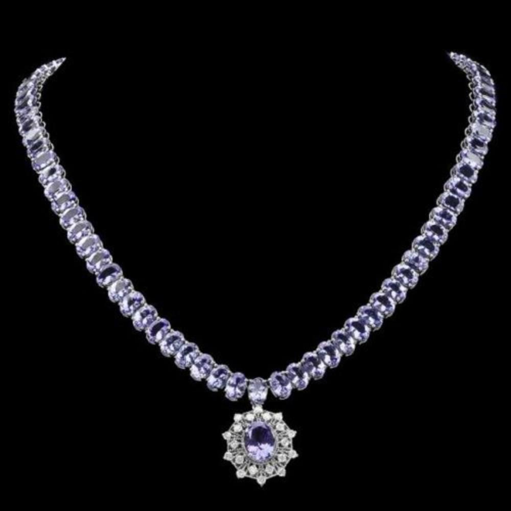 14K White Gold 63.85ct Tanzanite and 0.93ct Diamond Necklace