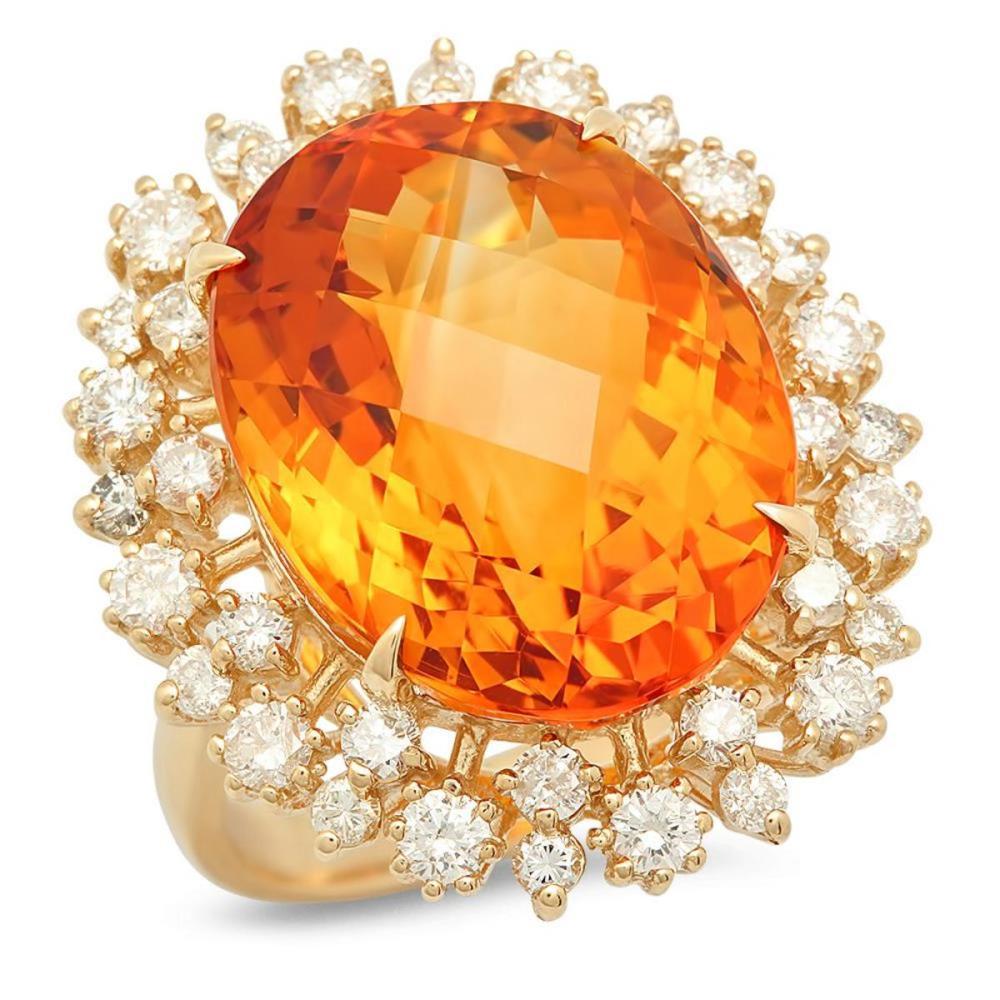 14K Yellow Gold 15.40ct Citrine and 1.32ct Diamond Ring