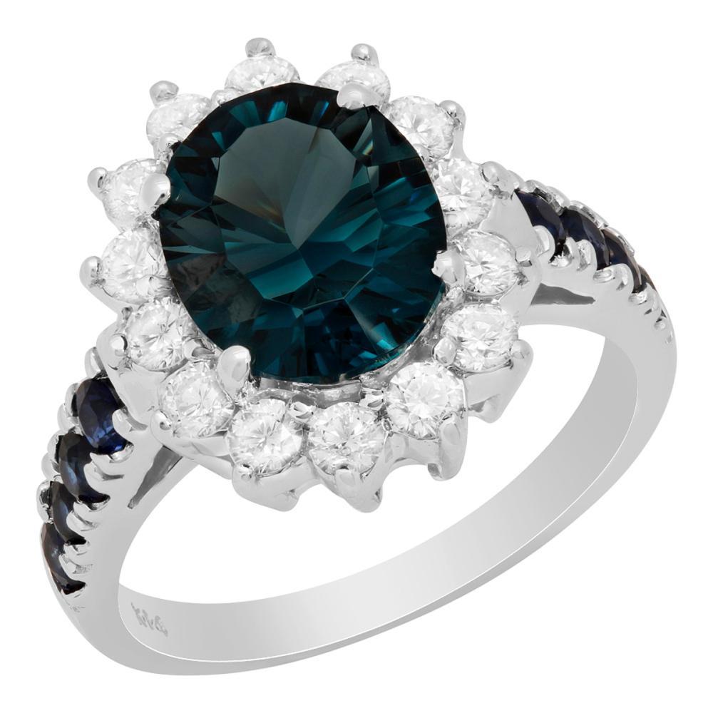 14k White Gold 3.00ct Blue Topaz 0.51ct Sapphire 0.69ct Diamond Ring