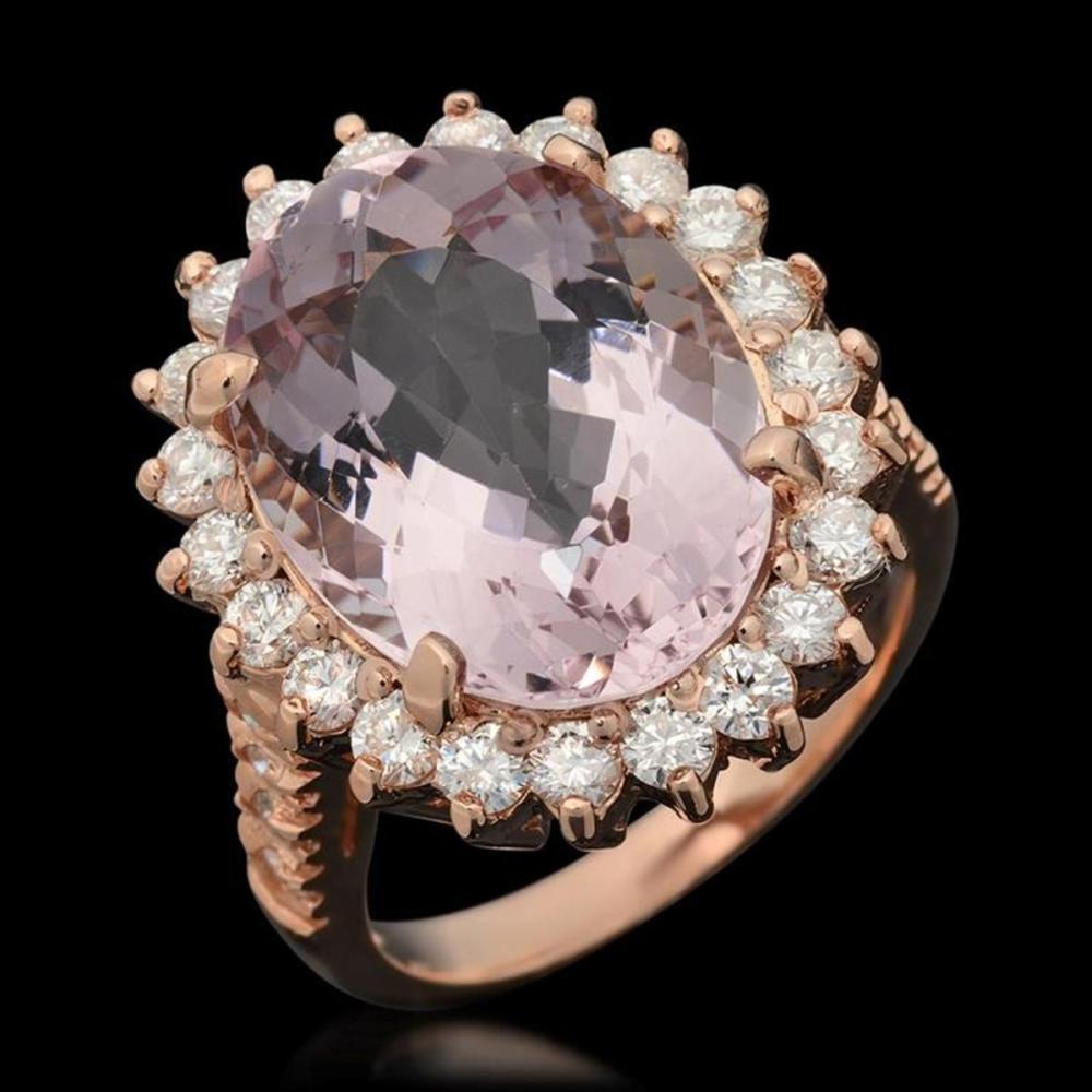 14K Rose Gold 9.58ct Kunzite and 1.52ct Diamond Ring