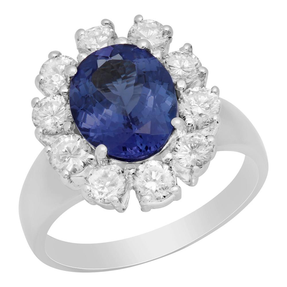 14k White Gold 2.51ct Tanzanite 1.00ct Diamond Ring