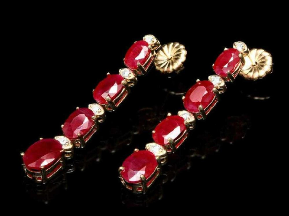 14K Yellow Gold 8.62ct Ruby and 0.22ct Diamond Earrings
