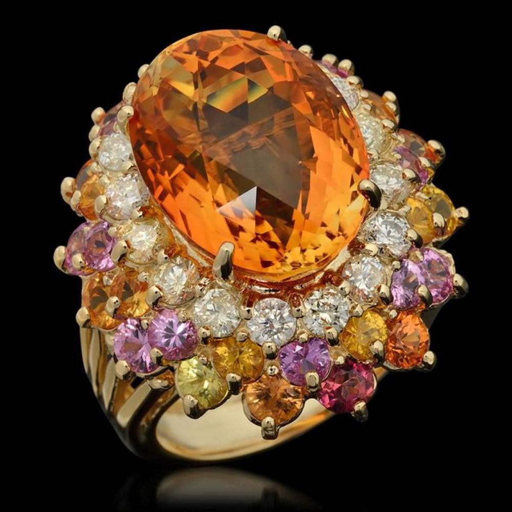 14K Yellow Gold 13.0ct Citrine 4.29ct Sapphire and 1.43ct Diamond Ring