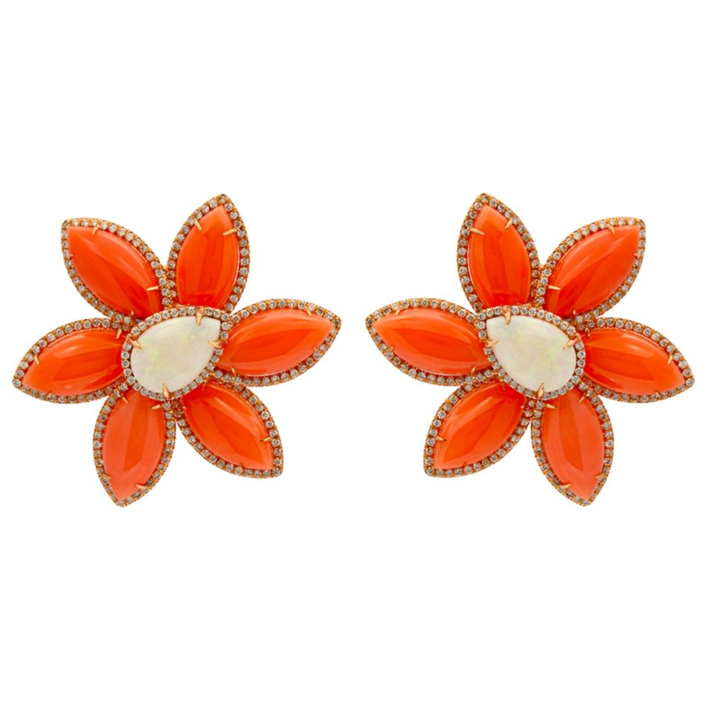 14k Rose Gold 30.42ct Coral 5.68ct White Opal 1.75ct Diamond Earrings